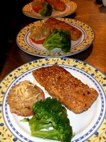Crunchy halibut with stuffed tomato and broccoli