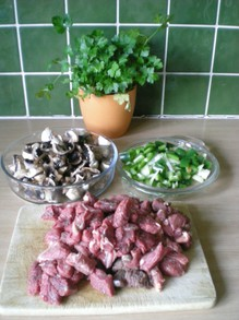 Ingredients for Beef Stroganoff