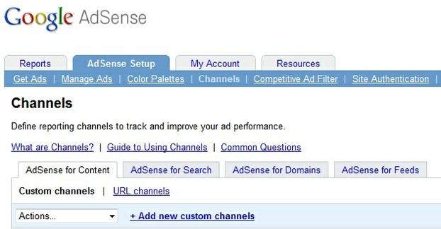 Setting Up a Google Adsense Channel