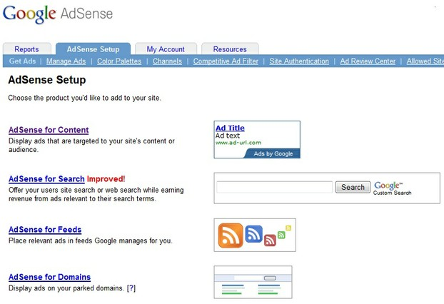 Google Adsense Dashboard: Get Ads