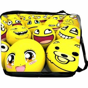 Smiley Face Balls Messenger Bag - School Bag - Laptop Bag - Reporter Bag