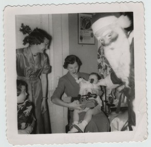 1950's vintage photo: creepy scary Santa Claus