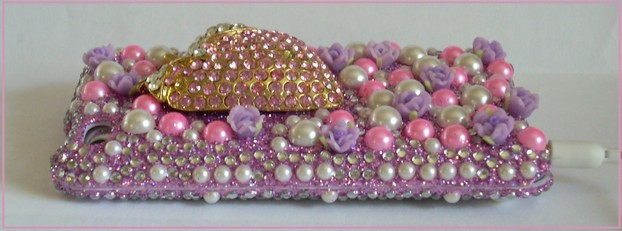3D iPod Touch Case with Rhinestones, Pearls and Roses - See Product Below