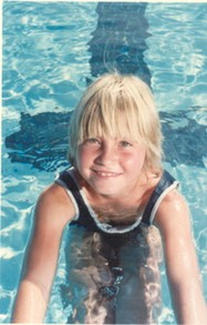 Sarah at the pool in 1983, in her competitive swimming practice