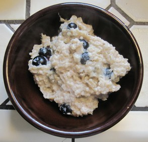 Hot, Ready-to-Eat, Buckwheat-Blueberry Cereal Pudding