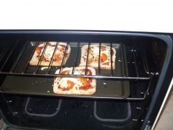 Pizza Toast in the oven, ready to cook.