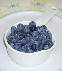 One Cup of Blueberries is about 120-125 count.