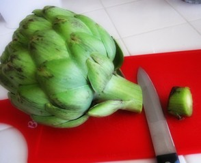 Cut the stem of the Artichoke before cooking