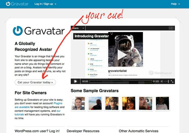 You'll click here to start the process on Gravatar