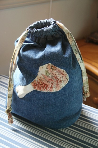 Drawstring Bag Made From Jeans Leg