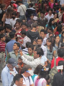 Carried by the Crowd in Kathmandu