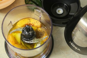 Using Ninja to Make Peach  Vinaigrette