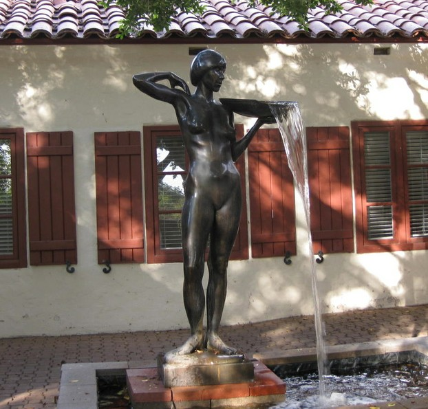Statue of Woman with Water Bowl