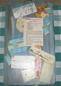 Back of decoupaged clipboard.
