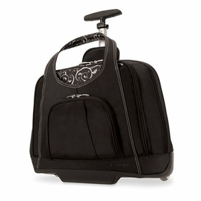 Black laptop bag on wheels for women