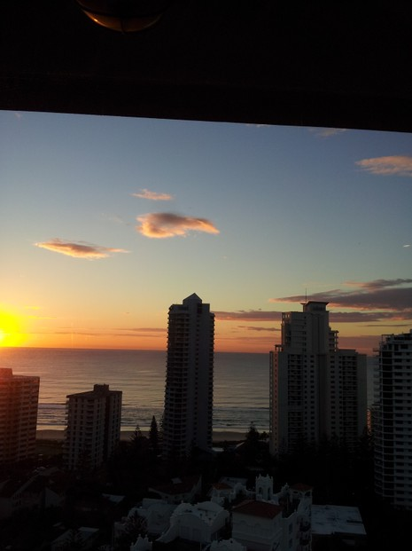 Sunrise Over Surfers Paradise (taken from 19th floor, 300 metres from the beach)