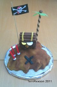 Pirate Flag on Pirate Island Cake