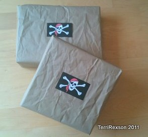 Pirate Flags as Gift Wrap Stickers