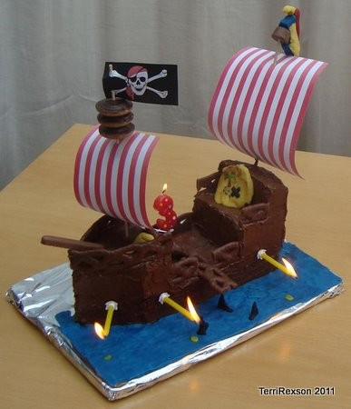 Pirate Ship Cake with Candles