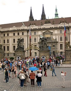 Ever Crowded Entrance Gates to Prague Castle