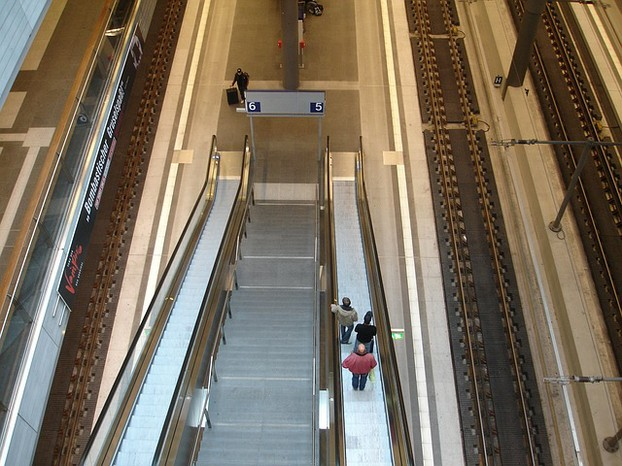 The escalator is conveniently located just steps away.