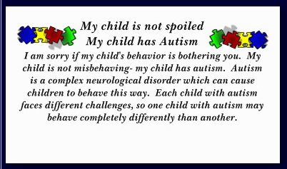 Text side of Falling Puzzle Pieces Autism Awareness Card : Basic