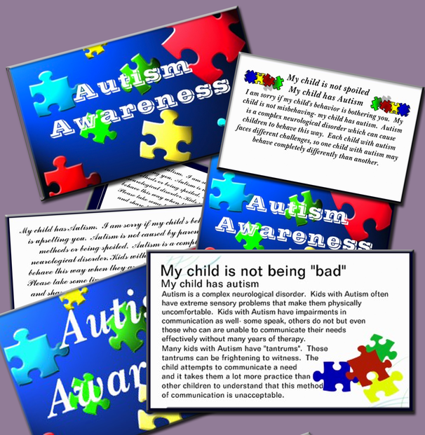 Autism Awareness and Behavior Information Cards -customizable