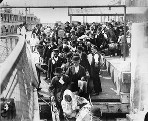 immigrants getting off boat