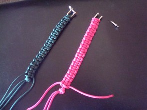finished products! notice the open eyebolt on the pink bracelet