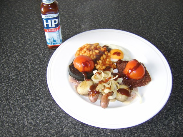 Full Scottish breakfast with HP Sauce