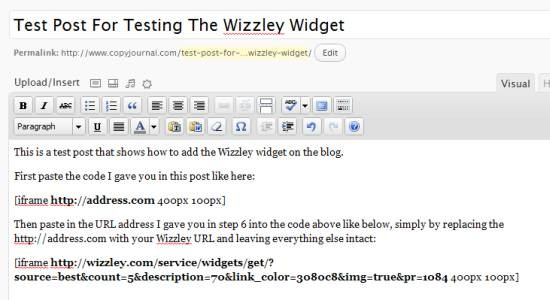 adding new blog post with wizzley widget