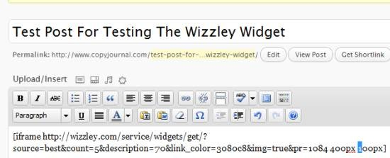 resizing the wizzley widget