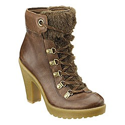 "Jargon--Nine West Vintage America Collection. Leather boot with faux fur detail, lace up front on lug sole and high heel. 4"" heel."