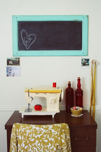 chalkboard made from a cabinet door
