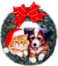 Christmas Puppy and Kitten Wreath