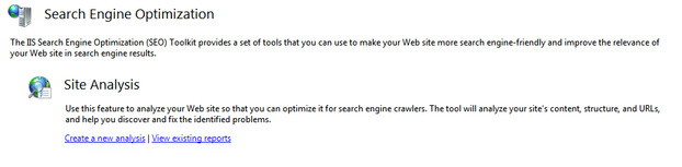 Starting the Microsoft SEO Toolkit