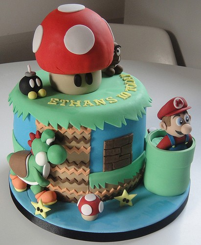 Excellent Mario Bros Birthday Cakes Funny Birthday Cards Online Bapapcheapnameinfo