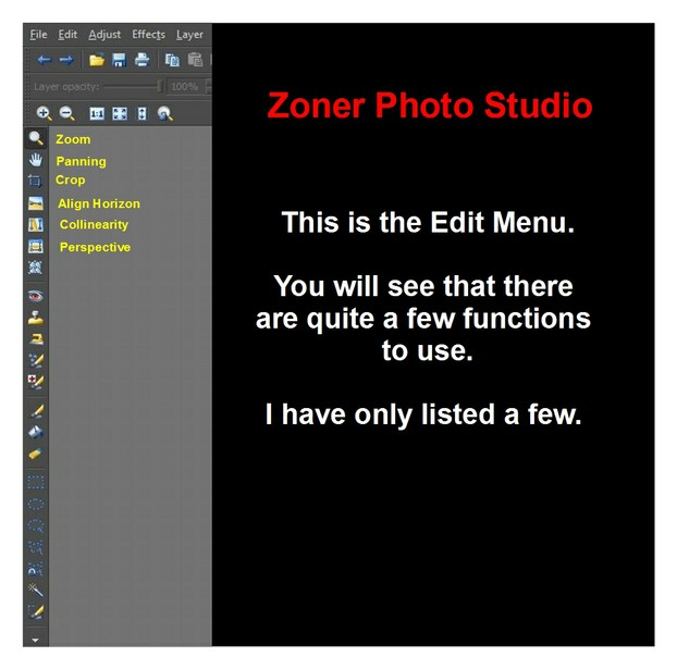 The enlarged Zoner Photo Studio Edit Menu