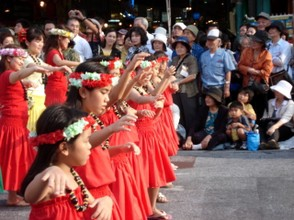 Beautiful young girls taking part in the Naha Festival Parade