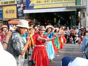 Mature matrons showing off during the Naha Festival Parade