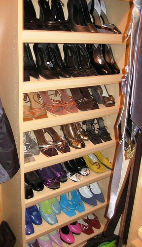 Organized Shoes in Closet