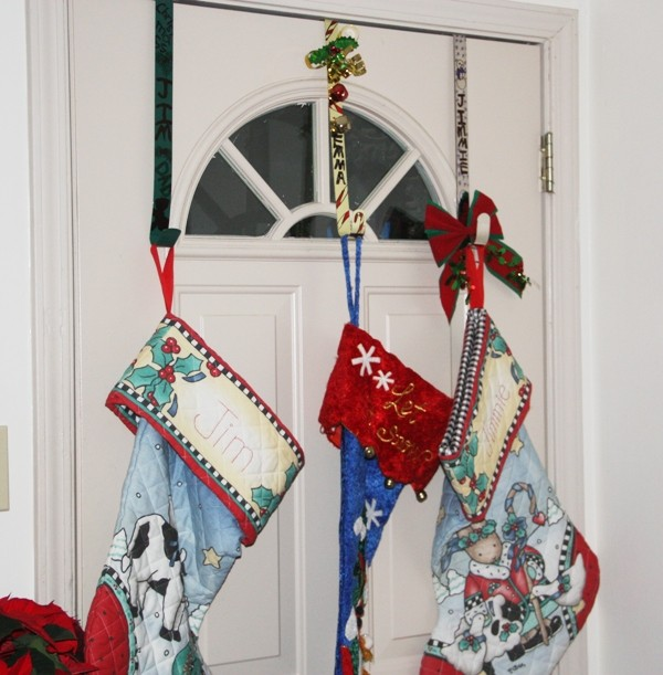 stockings hung on wreath hangers