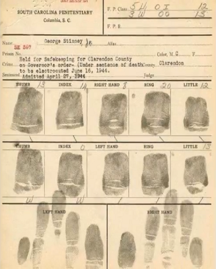 Photo: George Stinney Jr's fingerprints