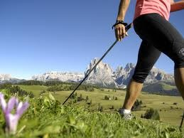 Nordic walking in the Alps.
