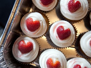 heart shaped Strawberry cupcakes