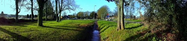 Sweep Panorama of the path to the Hospital in Limes Park, Basingstoke, Hampshire, England.
