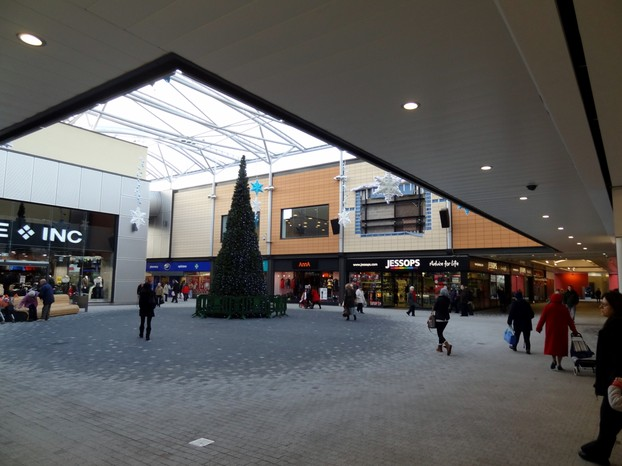 Inside 'The Malls',  using 24mm lens. Note the window just to the right of the tree, in the yellow wall.