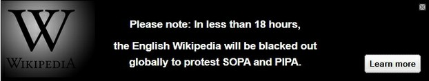 Wikipedia Notice in the Hours Before the Protest