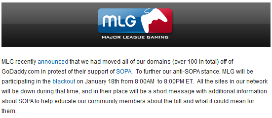 Major League Gaming Notice in the Hours Before the Protest