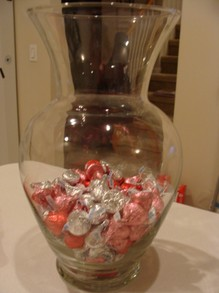 Adding the candy to the Vase.